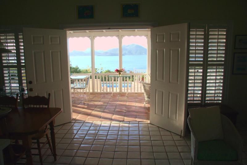 Villa View through the screened in porch across the narrows to St Kitt's