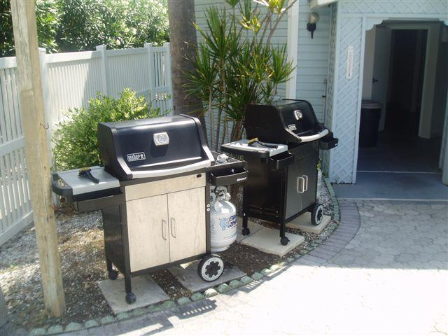 Gas grills for your use are on the swimming pool deck