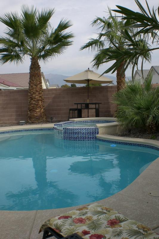 Private yard with pool and hot tub