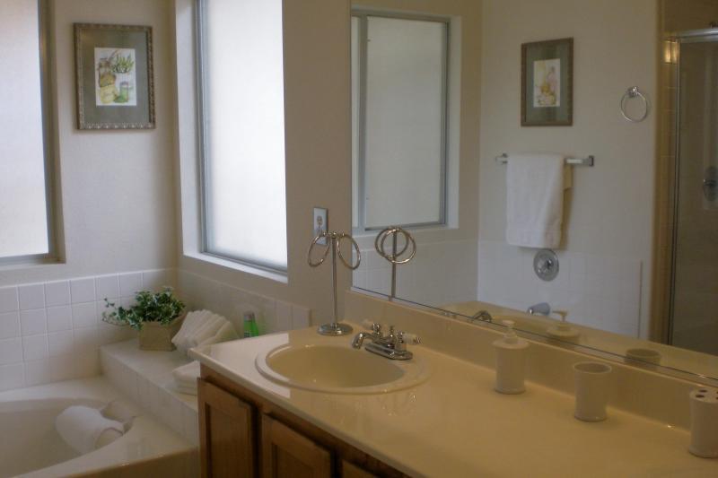 Master bathroom, soaking tub, separate shower, separate toilet room, double sinks.