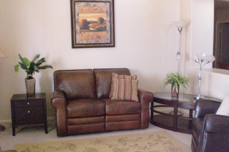 Family room with recliner leather furniture,open planned