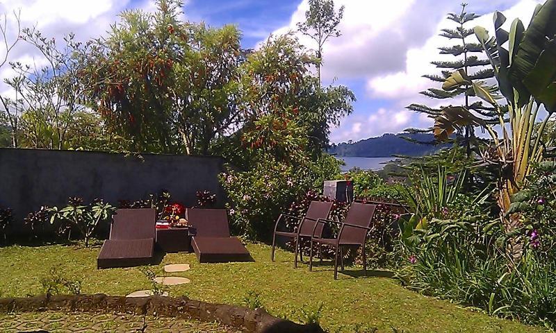 Sun loungers and beautiful view of lake Beratan