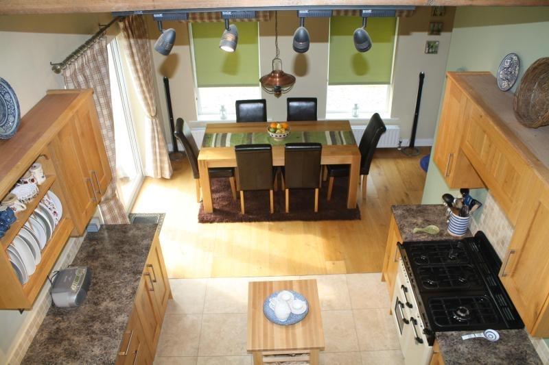 View of kitchen from the den