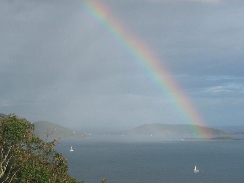 Rainbow over Sandy Cay