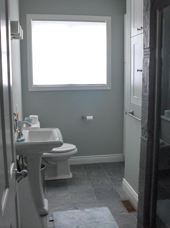 Second floor bathroom with large shower