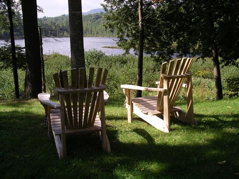 Adirondack chairs overlooking pond and wetland