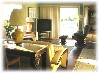 Large living room with 54' TV and great views