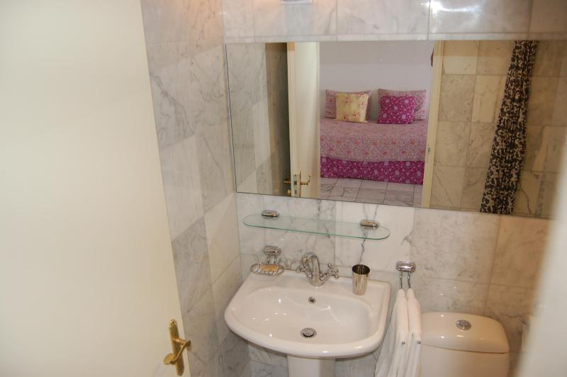 Marble Bathroom with hot shower, tub, hair dryer