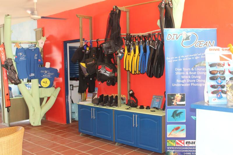 Interior of our onsite dive shop