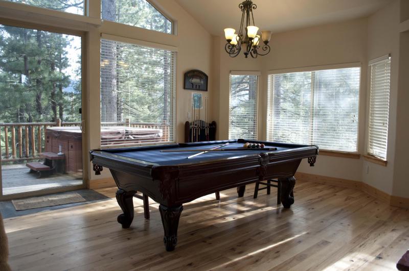Billiard area with a deck