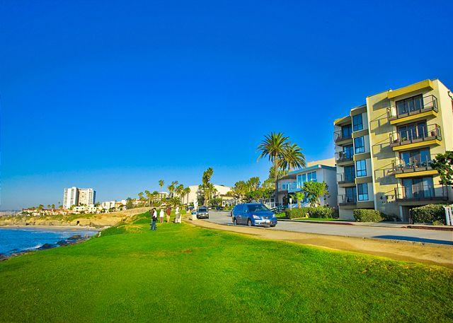 The condo building is located just steps away from one of the most beautiful stretches of coastline in all of San Diego. Please note that this unit is on the opposite side of the condo building and is not oceanfront.