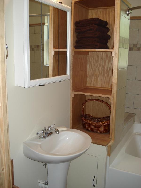 2nd bath upstairs with plenty of storage