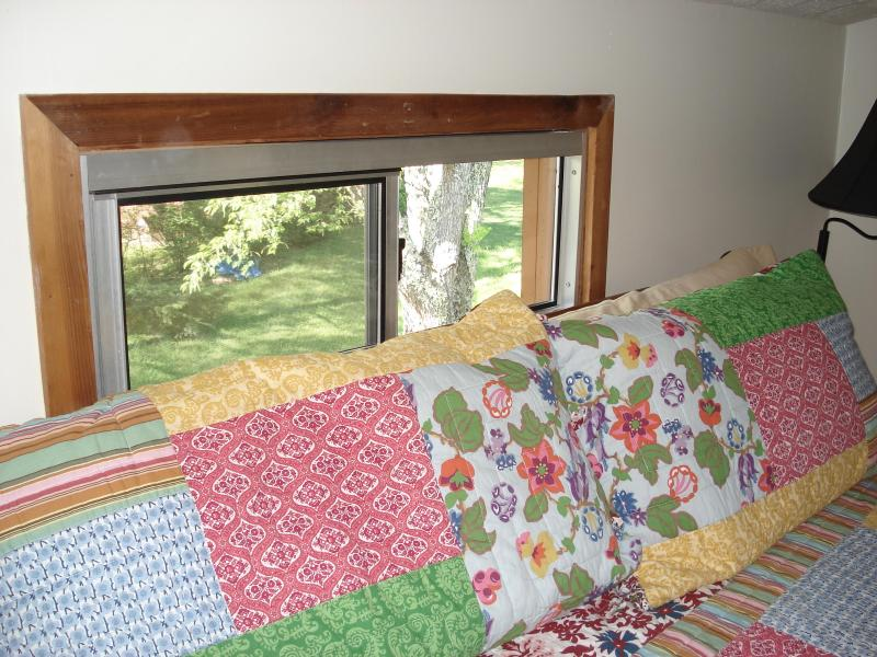 You can still hear the soothing creek sounds from the 2nd floor king bedroom