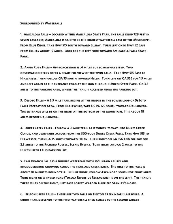 Waterfalls list page 1 of 3