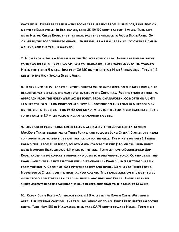 Waterfalls list page 2 of 3