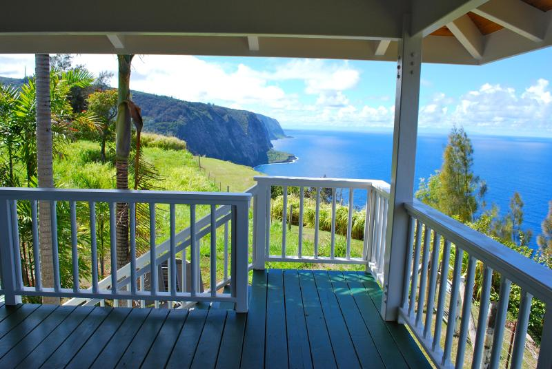 Lanai of Cliffhouse with mountain and ocean views. Ocean front.