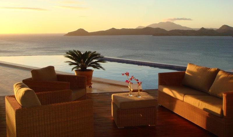 Sunset over the pool and St Kitts