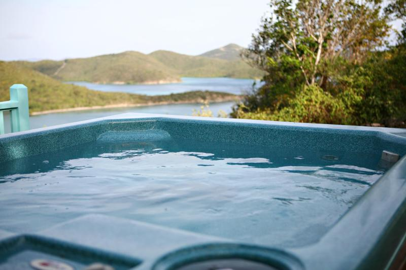 Hot tub over looking water
