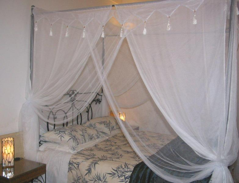 Romatic four poster bed dressed with soft net drapes