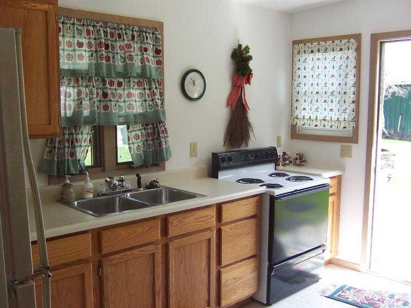 kitchen in nightly cabin rental looking from the fridge to the outside door