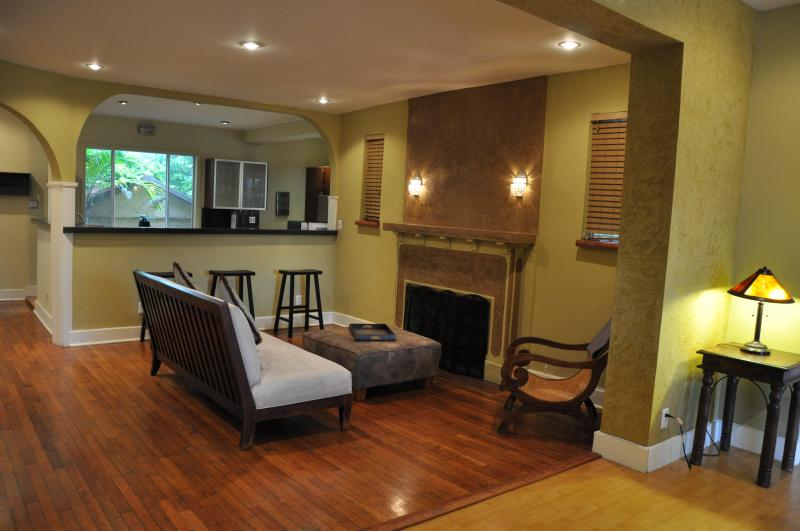 Family Room with Original 1920s Fireplace