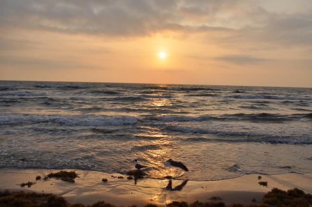 Lever du soleil sur la plage en face de la rue