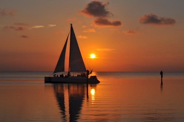 Coucher de soleil sur la baie à South Padre Island