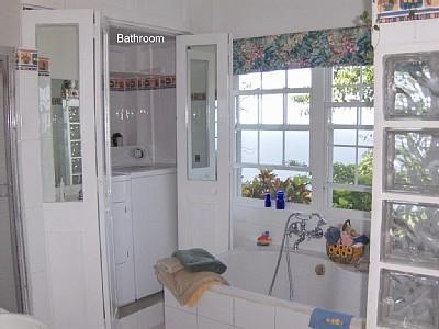 Bathroom with laundry area