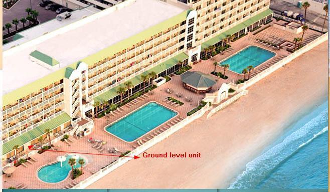 Birds eye view of our three Ground Level Ocean Front and side by side condos location.