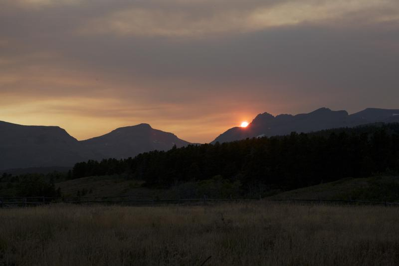 View of a Rocky Mountain sunset as seen from the deck