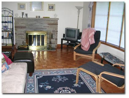Living Room with woodburning fireplace