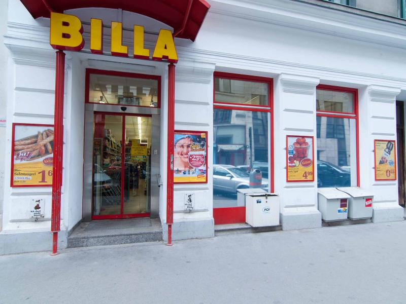 1 minute walk: Billa grocery store with smal detergent/hygiene sector on top of all foods