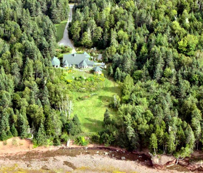 Aerial View of House, Guesthouse and Gazebo The Bay of Fundy is at the bottom of photo