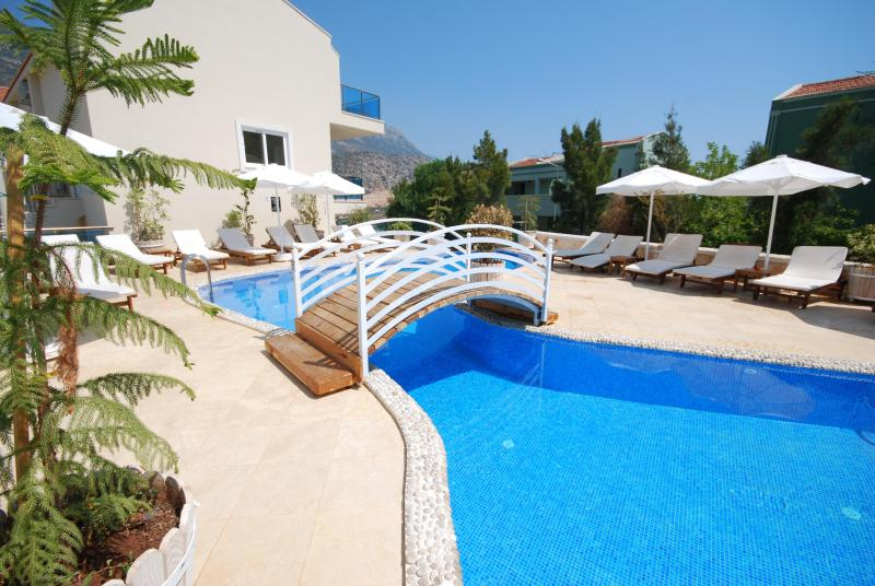 Main pool and sun terrace at Asfiya Retreat with plenty of loungers and parasols.