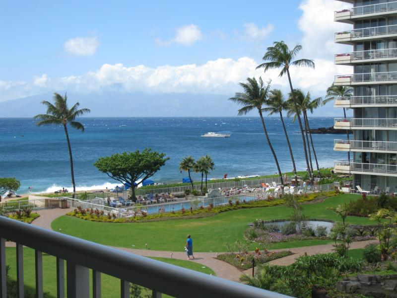 View of the courtyard and ocean from the balcony/lanai