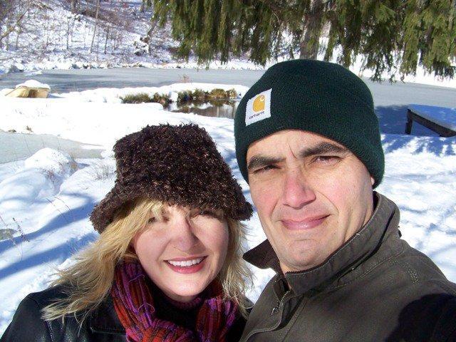 Jenn & Gary Jones (owners) by the pond