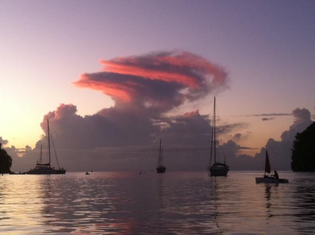 Fabulous sunsets over Marigot Bay, St Lucia
