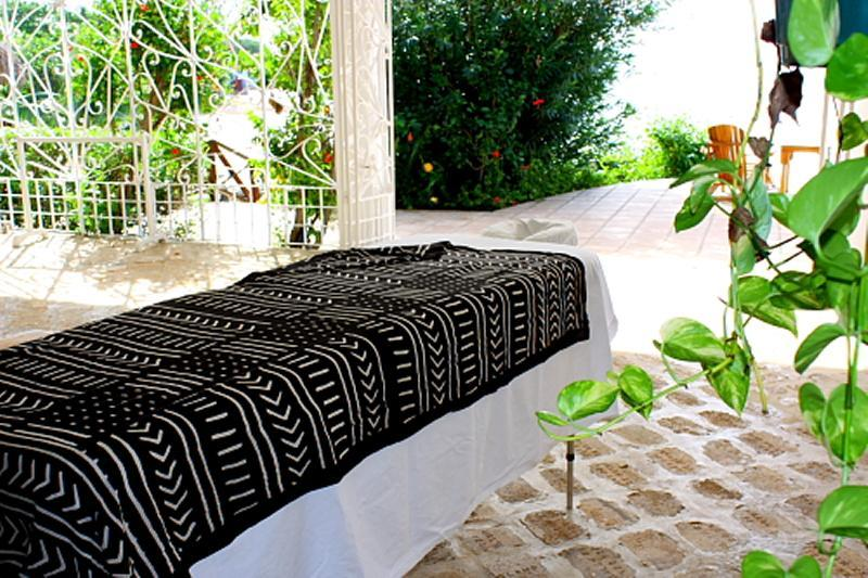 A quiet corner on the verandah for a massage - only the sound of the waves
