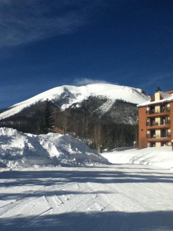 Winter view of Buffalo Mountain from parking lot