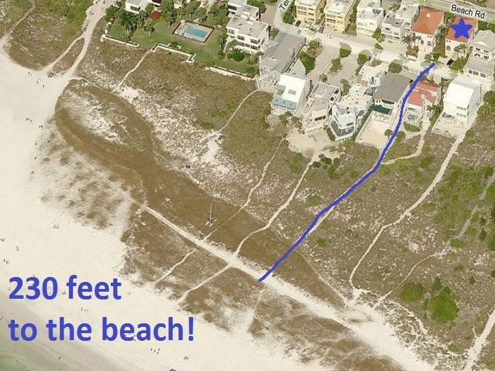 Aerial view. Only 230 feet to the beach.