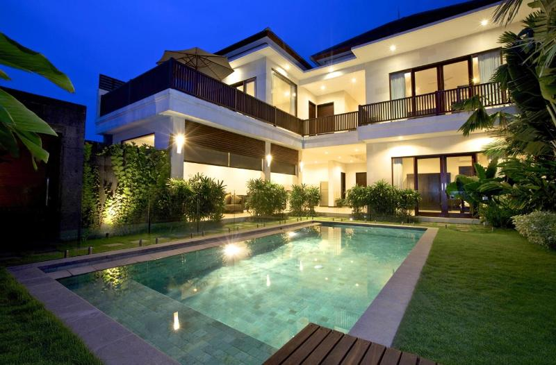View of Villa and 8.5 x 3.5 mtr private pool with frameless glass pool fence