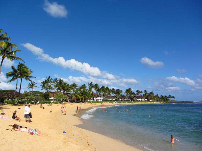 White sandy Poipu Beach is five minutes away