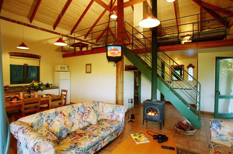 family cottage living area showing mezzanine