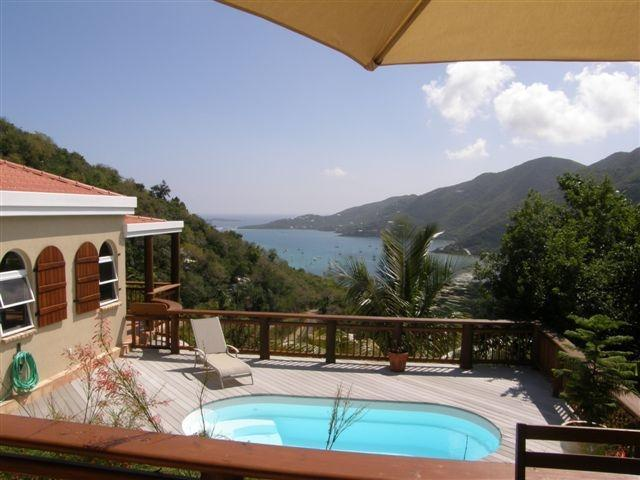 Swimming pool from Cabana w/dining area, wet bar & grill - Coral Bay, Estate Carolina, USVI Villa w/Harbor View, Private Pool close to Restaurants & Shops