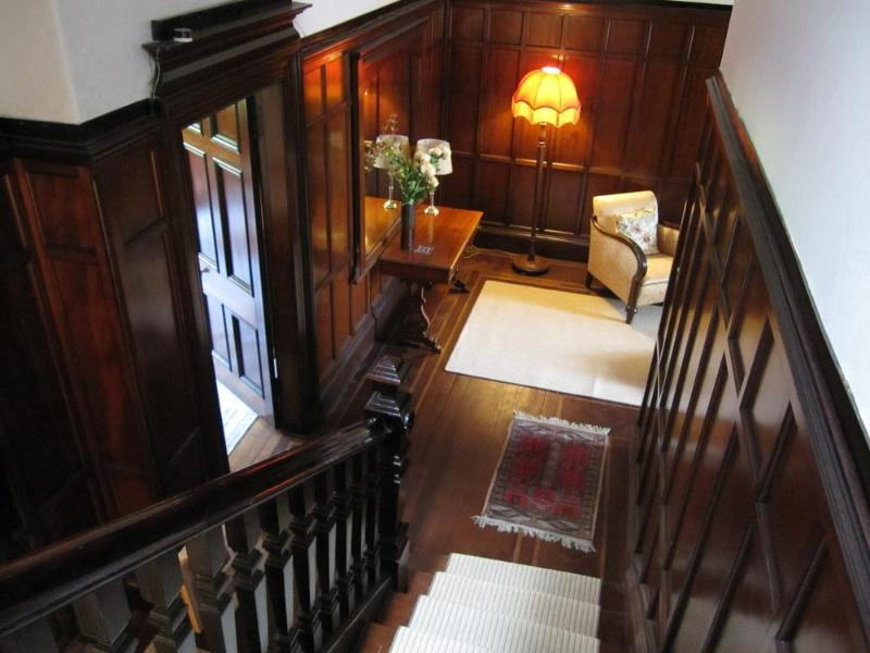 View down stairs to entrance hall