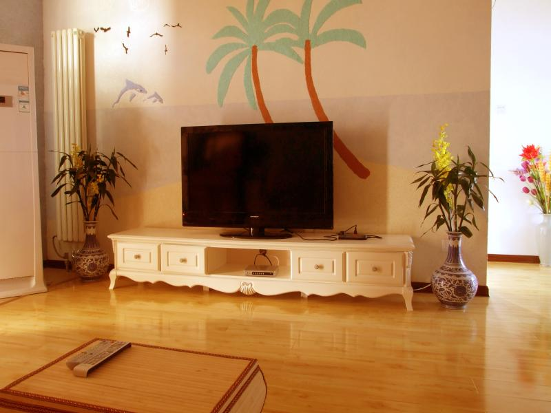 Living room with heating and cooling unit