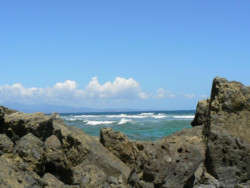 view of Puerto Rico from rocks on La Chata