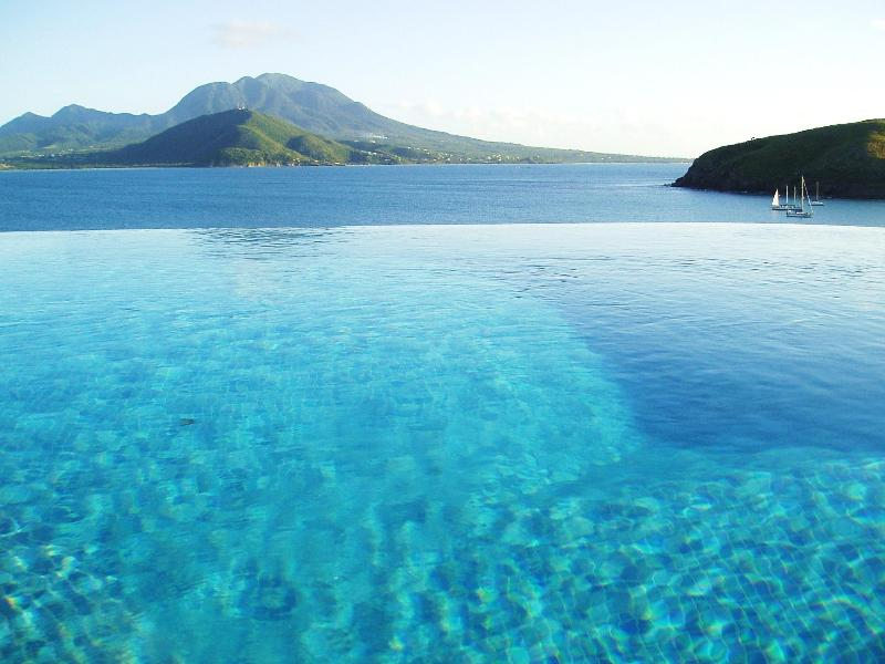 View from infinity edge pool across the channel to the Island of Nevis.