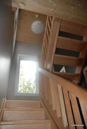 hand-crafted stairs are just one the many special touches at kickinghaus chalet