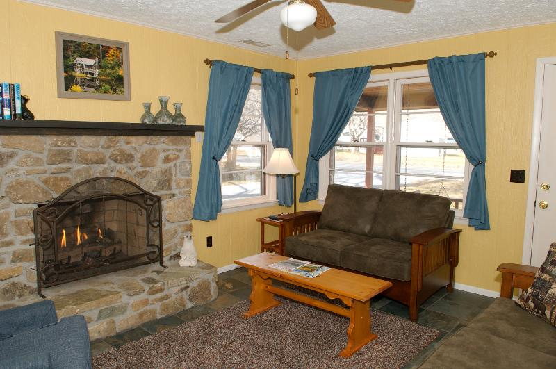 Cozy Living Room with Gas Log Fireplace